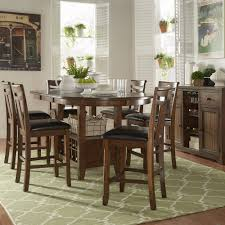 Tribecca Tuscany Brown Wood Wine Rack Counter Height Extending Dining Table  Set by iNSPIRE Q Classic