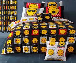 emoji smiley emoticon reversible themed design bedding duvet cover set black white