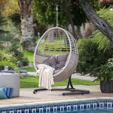 island bay palma resin wicker hanging egg chair with cushion and stand com