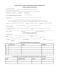 New Customer Account Form New Customer Account Form Template Trade Credit Application Details