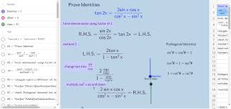 Trig Identities Exercise with hints and steps. - GeoGebra