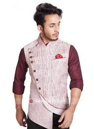 Mens Koti Design Sleeveless Khadi Silk Off White Color Koti Rajwadi