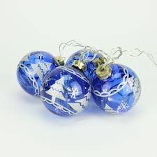 Lighted Christmas Ornaments Ball Set Of 4 Battery Operated Blue Glass Ball Led Lighted