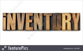 Word Inventory Signs And Info Inventory Word In Wood Type Stock Picture