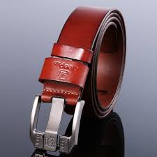 top layer leather belt buckle red leather rtro belt