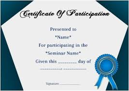 Certificate Of Participation In Seminar Template