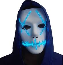 Halloween Mask Light Up Eyes Amazon Com Halloween Mask Cosplay Led Glow Scary El Wire