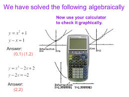 we have solved the following algebraically