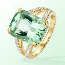 Light Green Stone Rings Us 2 28 5 Off Luxury Big Irregular Light Green Stone Cut Engagement Ring Covered With Rose Gold Color Ring For Women Wedding Party Ring In Rings