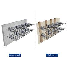 2 pack black steel garage wall shelves