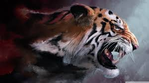 1366x768 angry tiger painting hd desktop wallpaper high definition