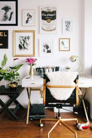 desks for home office. Chic Home Office. Black Desk Chair With Gold Accents. White Laquer Accents And A Gallery Wall. Desks For Office
