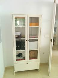 hemnes cabinet with panel glass door white stain ikea for bookcase