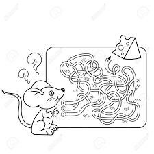 幼児の教育迷路や迷宮ゲームの漫画ベクトルの例パズルもつれた道ぬりえページ概要のチーズを少しマウ