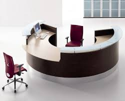 Furniture, Awesome Desks Round Shaped Modern Style Glass Tom Wooden Accents  Maroon Chairs Office Design