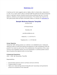 Waitress Responsibilities Resume Samples Friends And Relatives Records