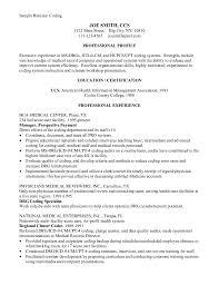 Cover Letter Resume For Medical Coder Resume For Medical Coding