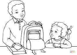 Small Picture African American Boy and Girl Getting Ready for School coloring