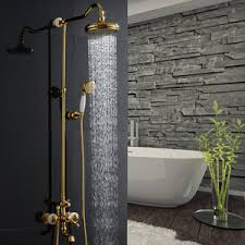 golden bathroom shower column faucet wall: unique rose gold jade brass outside bathroom shower faucets