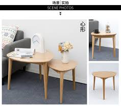 high quality eco friendly bamboo creative heart shaped coffee wood table living room round t