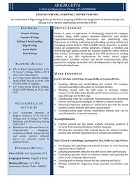 Sample Resume Format Classy Content Writer Resume Samples Sample Resume For Content Writer