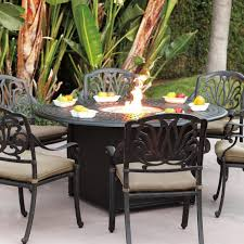 Darlee Elisabeth 7 Piece Cast Aluminum Patio Fire Pit Dining Set
