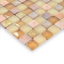 glass stone mosaic tiles yellow glass mix stone mosaic frosted crystal glass mosaic tile hm0012