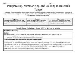 Paraphrases Summaries And Direct Quotes In Research Papers Worksheet