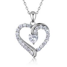 925 sterling silver heart necklace billie bijoux you are the only one love