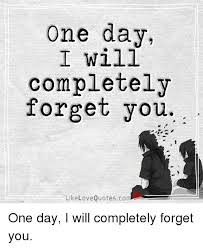 Forget Love Quotes Beauteous One Day I Will Completely Forget You Like Love Quotescom One Day I