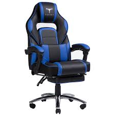 topsky high back racing style pu leather computer gaming office chair blue ergonomic reclining design with lumbar cushion footrest and headrest