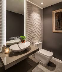modern half bathroom. half bathroom with grey wall, white wavy wall in one side, bowl sink modern n