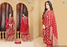 Buy Designer Salwar Suits Pure Banarasi Salwar Kameez Red
