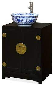 Elmwood Chinese Ming Vanity Cabinet Black Asian Bathroom Vanities And Sink Consoles By China Furniture And Arts