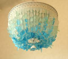 sea glass chandelier. Sea Glass Chandelier Lighting Fixture FLUSH MOUNT Coastal Decor Beach O