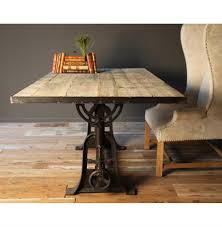 industrial furniture table. Monterrey Industrial Loft Iron Reclaimed Wood Adjustable Height Dining Table - 71 Inch | Kathy Kuo Furniture A