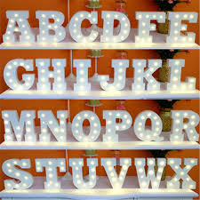 15cm White Wooden Letter LED Night Light Marquee Sign Alphabet LIGHT UP Lights Lamp Home Culb