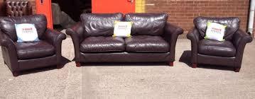 stunning brown leather dfs 3 piece