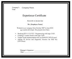 Experience Letter Format In Ms Word Filename Joele Barb