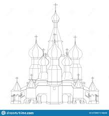 Front Church Design Contour Of The Church With Domes Front View Vector