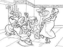 奏で踊る白雪姫と7人の小人の塗り絵の下絵画像