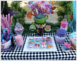 Alice In Wonderland Decorations Alice In Wonderland Mad Tea Party Candy Buffet Birthday Party