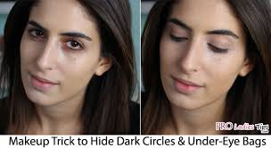 makeup trick to hide dark circles under eye bags