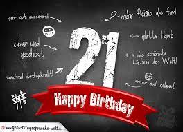 Komplimente Geburtstagskarte Zum 21 Geburtstag Happy Birthday