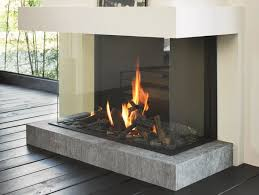 gas 3 sided glass and steel fireplace stÛv b 100 h 3