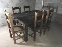 solid oak table 6x chairs jacobean dark oak dining table chairs