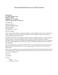 Example Of Cover Letter For Receptionist Resume Adriangatton Com