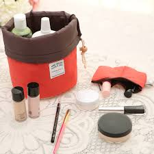 barrel shaped women travel cosmetic bag for makeup accessories