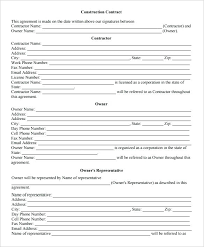 Construction Employment Contract Template Sample For Work Job ...