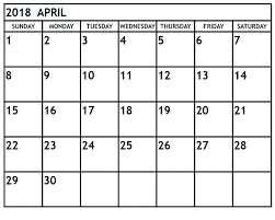 April 2018 Printable Calendar Printable Calendar Templates